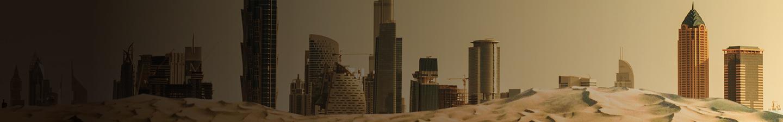 Desert in front of Dubai, Qatar skyline