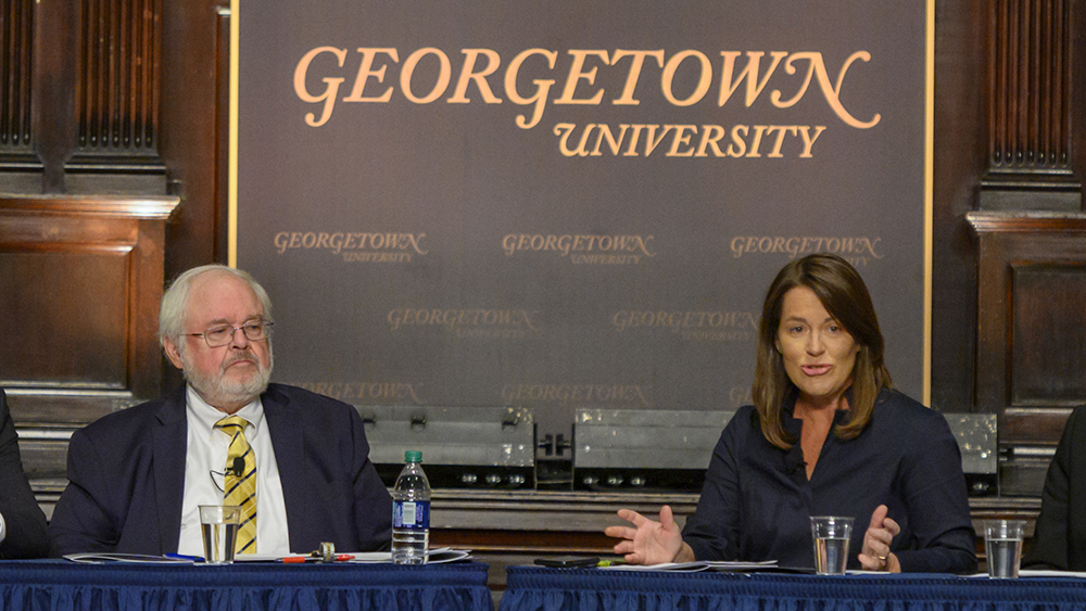 John Carr and Kim Daniels at the November 4, 2019 dialogue.