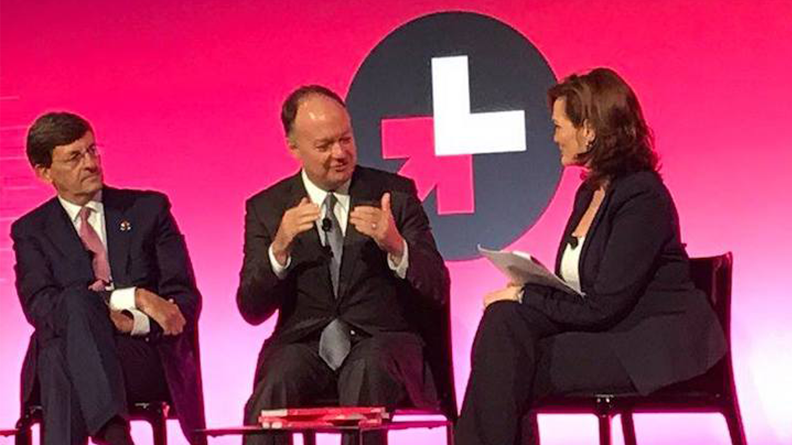 President DeGioia talks with other panelists at the September 2018 HeForShe Summit.