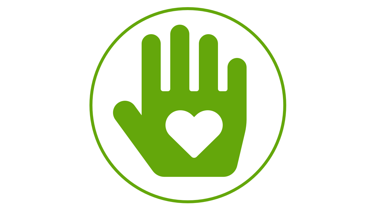 Icon of a hand with a heart inscribed in it.