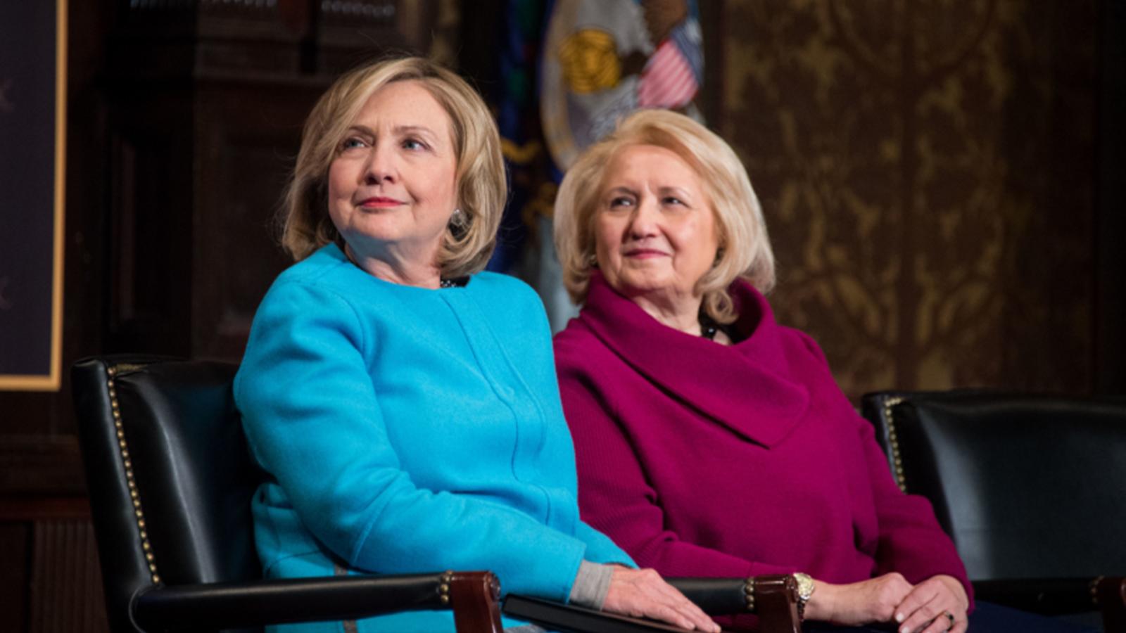Former Secretary of State Hilary Rodham Clinton and Ambassador Melanne Verveer
