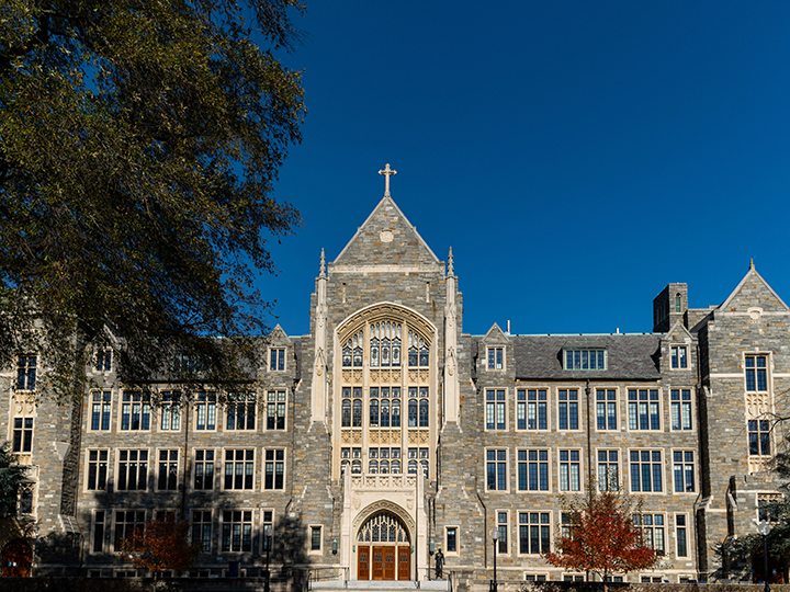 Exterior of Georgetown's White-Gravenor Hall on a sunny fall day