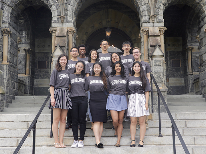 2018-2019 Student Fellows in front of Healy Hall.