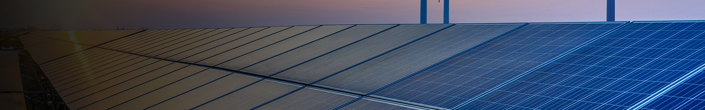 Solar panel array at sunset