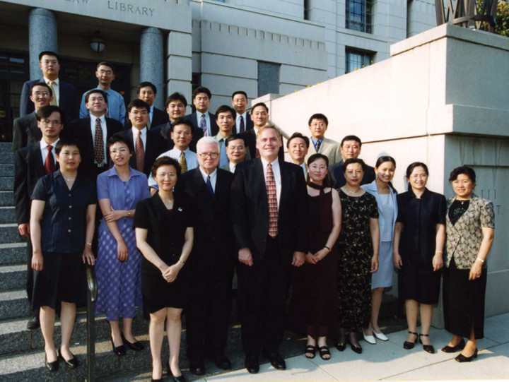 Chinese nationals posing for a picture at Georgetown Law Center