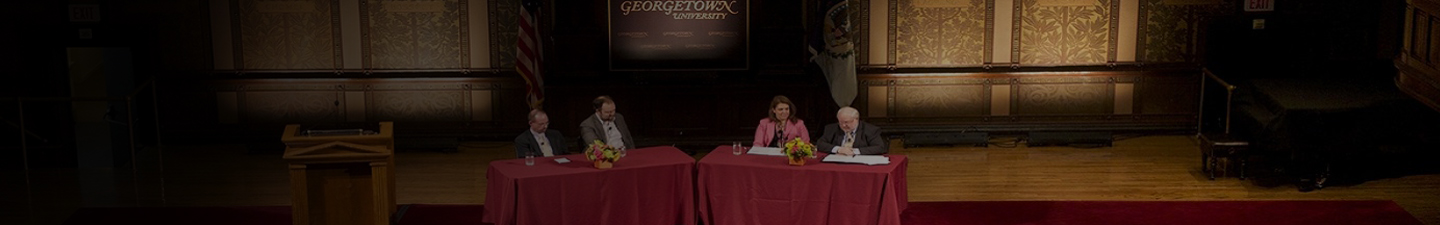 Public Dialogue Panelists in Gaston Hall