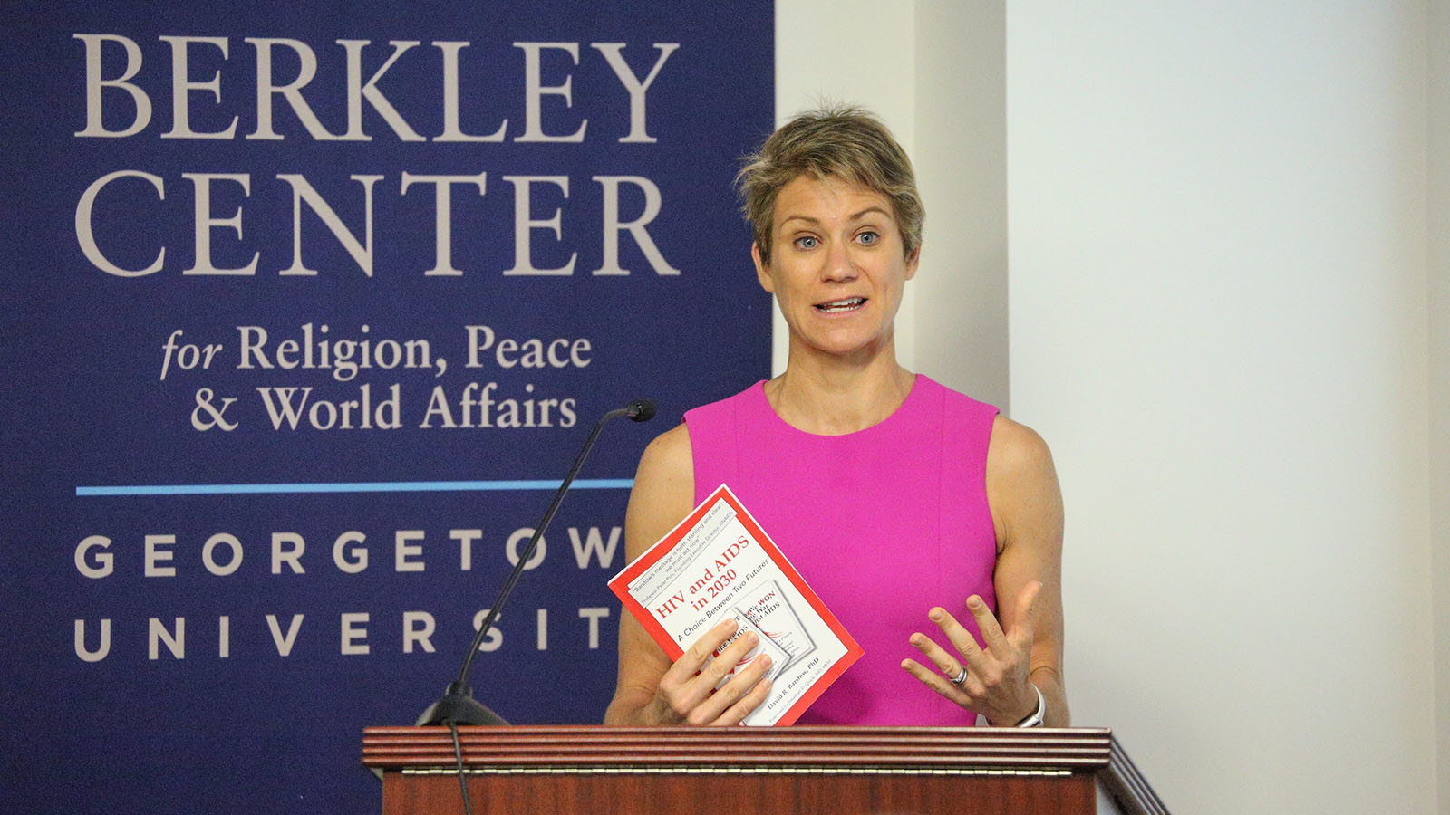 """McKean speaks at a conference on """"Two Possible Futures: Faith Action to End AIDS,"""" 2019."""