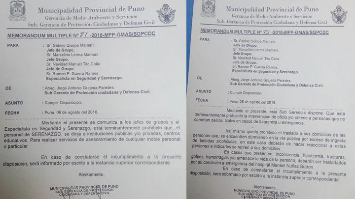 Disposiciones contra Serenazgo de Puno.