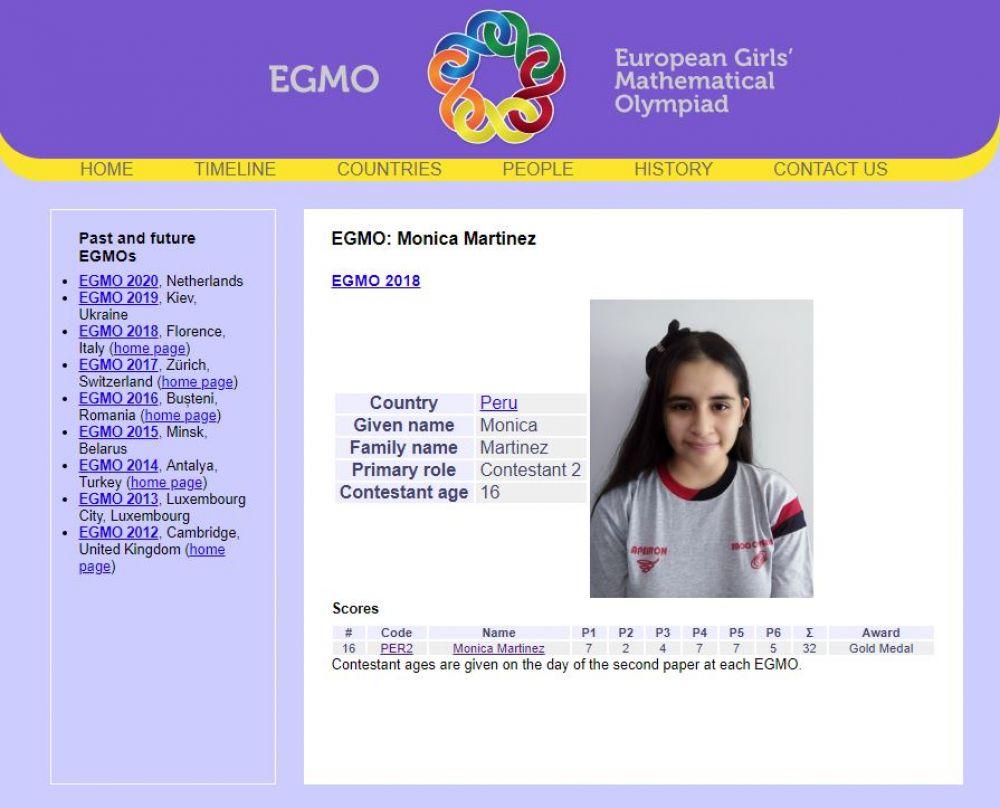 Escolar peruana se consagró con el primer lugar en la Olimpiada de ... e71e324f9dc85