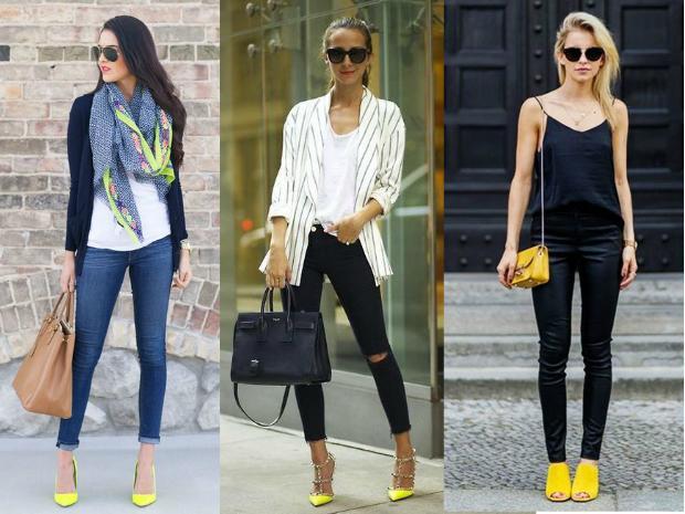 20f576d8 Los zapatos amarillos combinan con todas las tonalidades de azul, desde el  más claro hasta el más oscuro, rojo, blanco y negro, y verde.