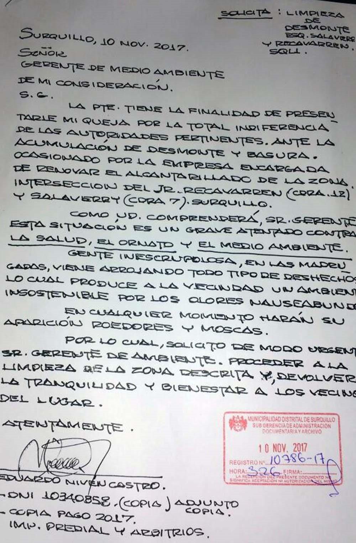 Carta a las autoridades municipales de Surquillo.