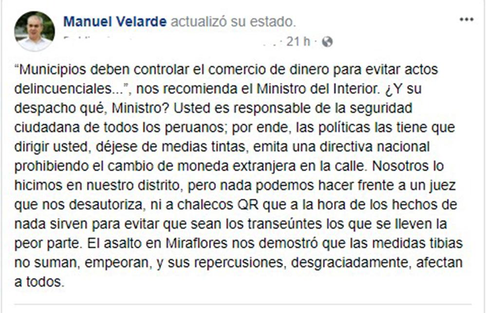 Mensaje mediante Twitter del alcalde de San Isidrdo, Manuel Velarde.