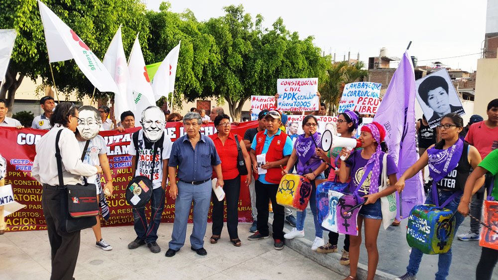Los manifestantes se concentraron en el Parque Obrero de Chiclayo.