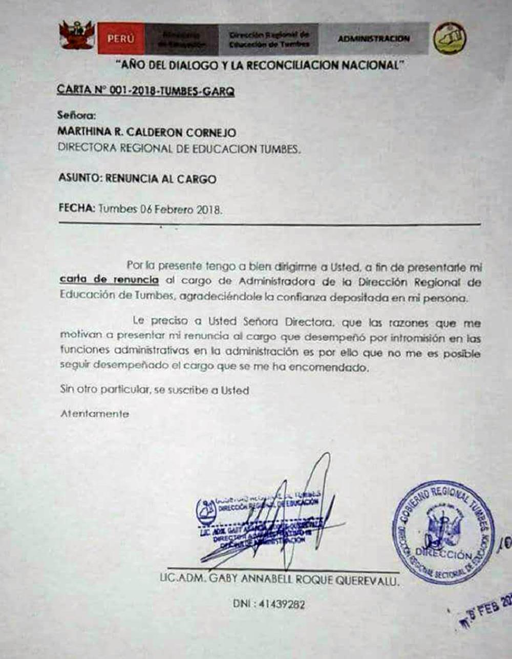 Carta de renuncia de funcionaria de Educación en Tumbes.