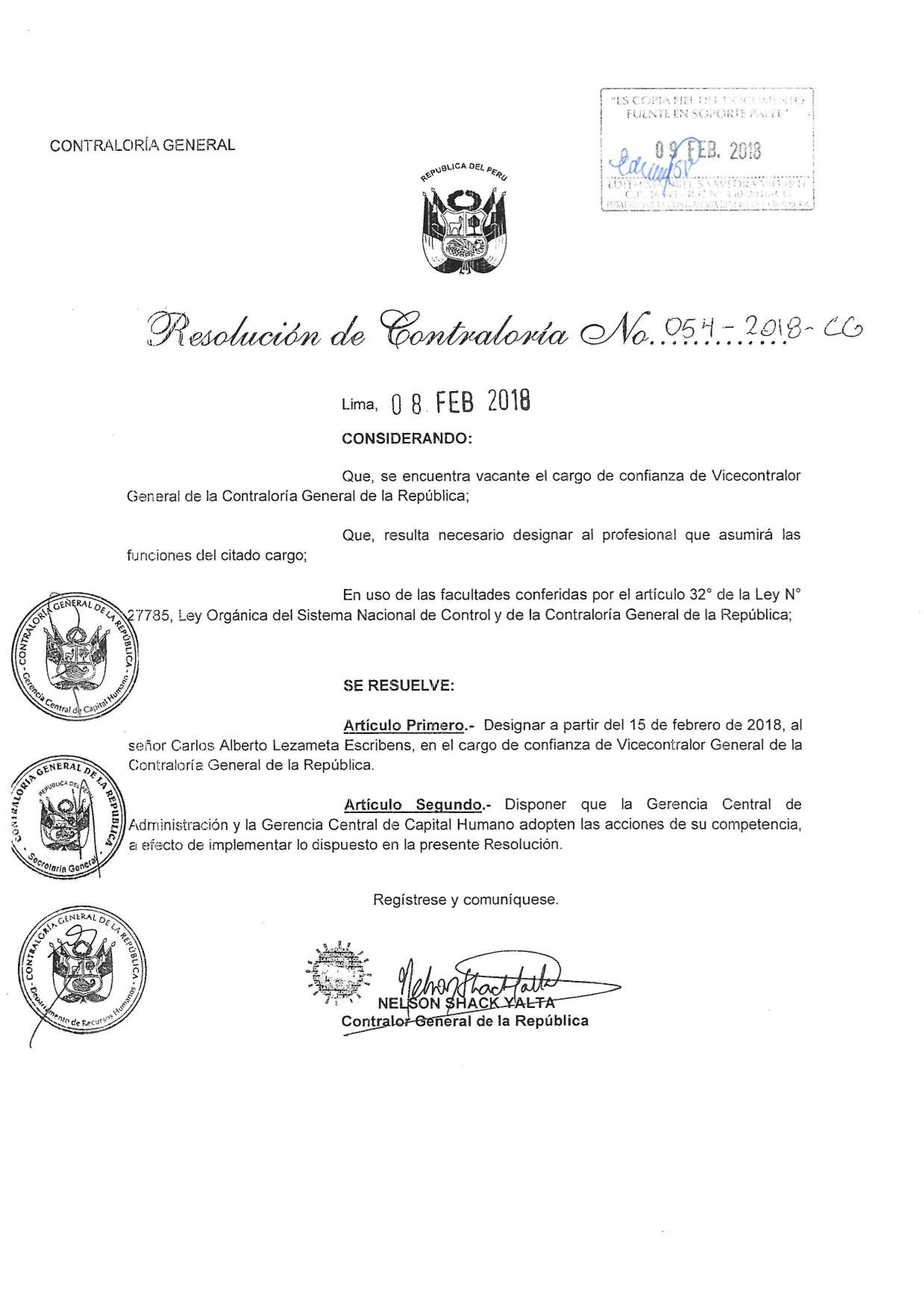 Resolución de nombramiento de vicecontralor.