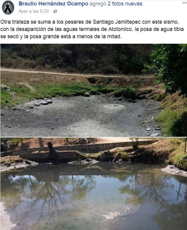 Buscan recuperar aguas termales 'vaciadas' por sismo en Oaxaca