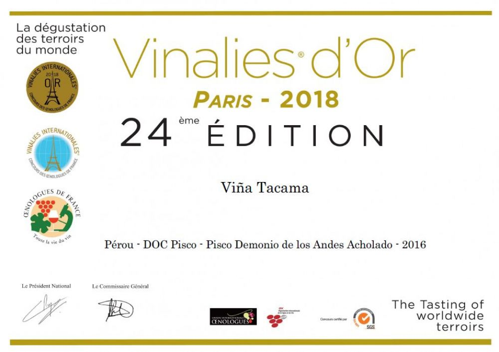 Pisco se lleva oro en Vinalies Internationales