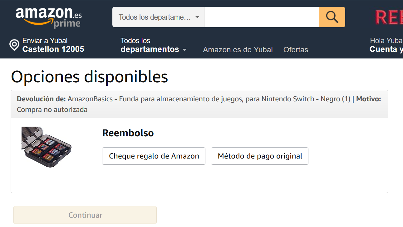 reembolso amazon en cheque regalo o pago original