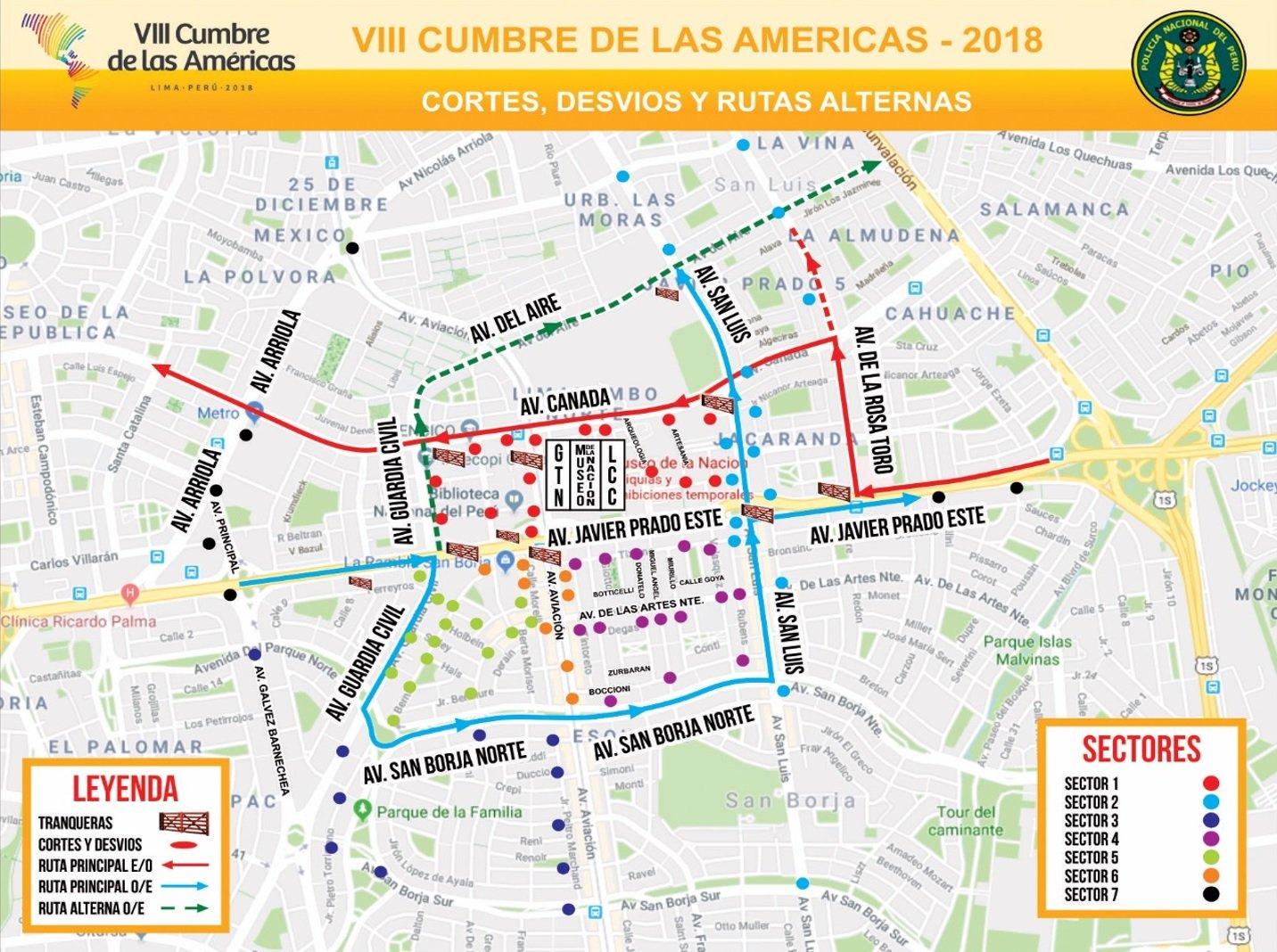 Cumbre de las Américas, plan de desvíos San Isidro, San Borja, Miraflores