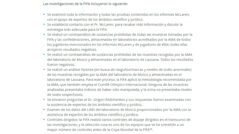Conclusiones de la FIFA por caso dopaje de Rusia