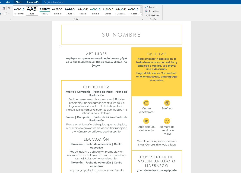 modelo de curriculum vitae 2018 word peru