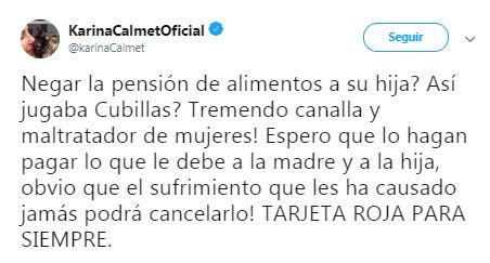 Karina Calmet escribió en su Twitter contra exfutbolista Teófilo Cubillas