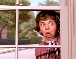 Mrs. Kavitz peaking in through the window pane.