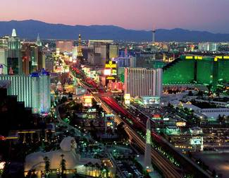 Aerial View of Las Vegas Strip at Sunset