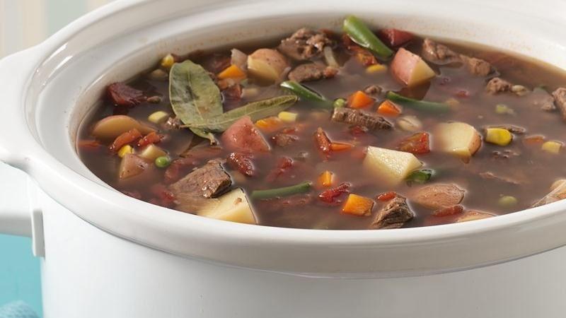 Slow-Cooker Vegetable Beef Soup recipe from Betty Crocker