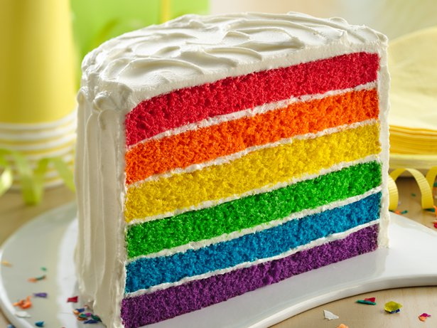 Rainbow Layer Cake With Raspberry Frosting