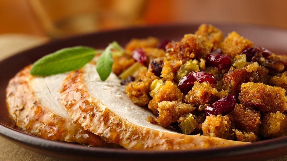 Orange-Glazed Roast Turkey with Gluten Free Cranberry-Orange Stuffing
