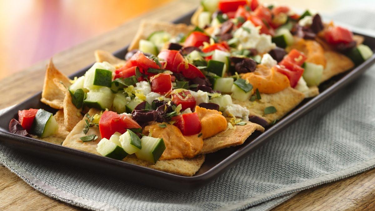 Greek Hummus Nachos