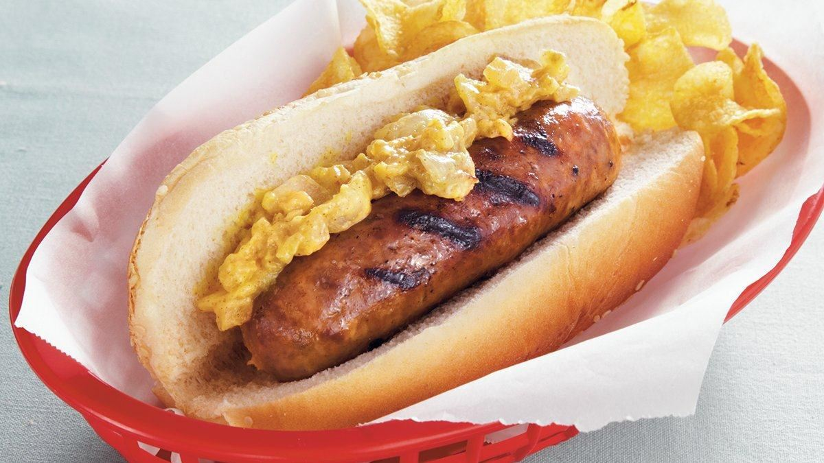 Grilled Brats with Mustard Relish