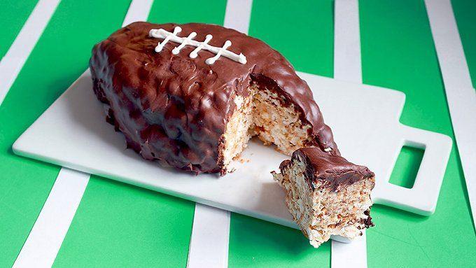 Butterscotch and Marshmallow Popcorn football Cake