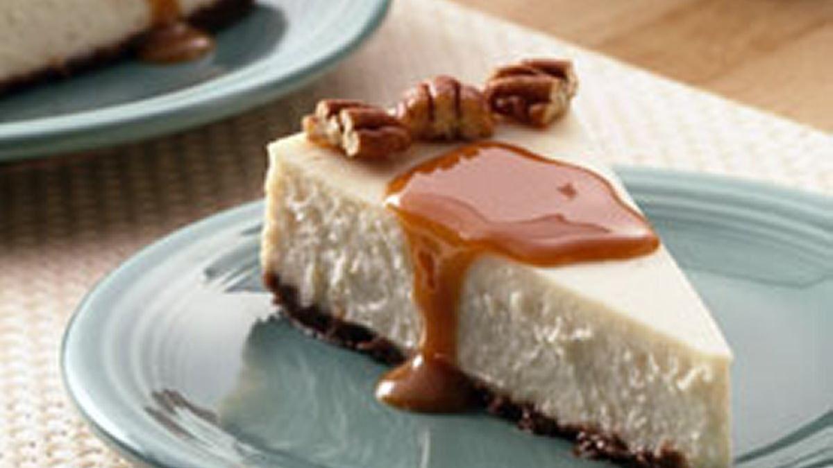 Gâteau au fromage onctueux à vanille et au caramel