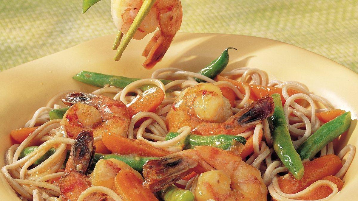 About asian noodles with shrimp