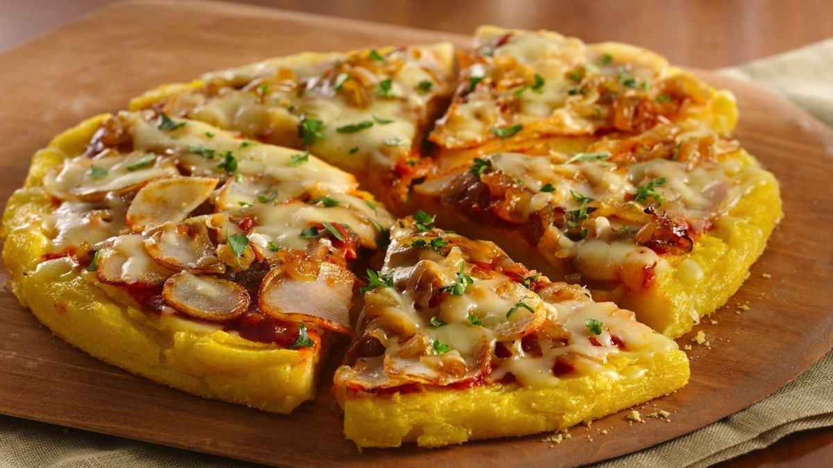 Caramelized Onion-Potato-Polenta Pizza