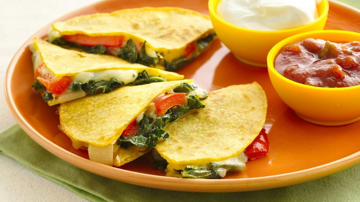 Kale and Bell Pepper Quesadillas (Gluten Free)