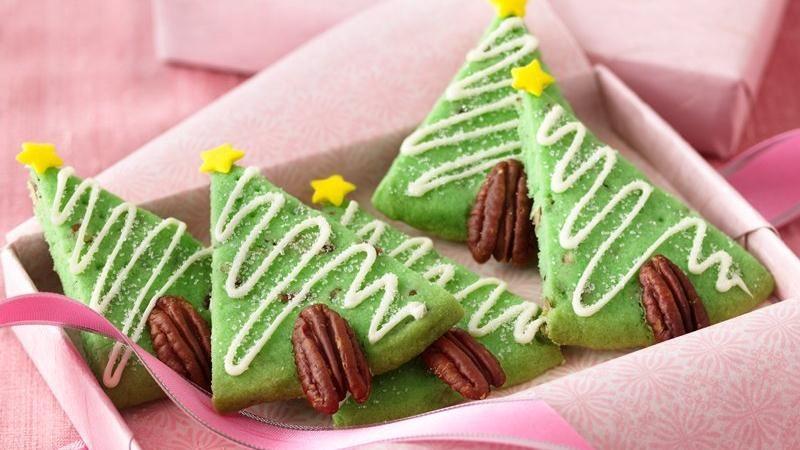 Pecan Shortbread Christmas Tree Cookies Recipe From Betty