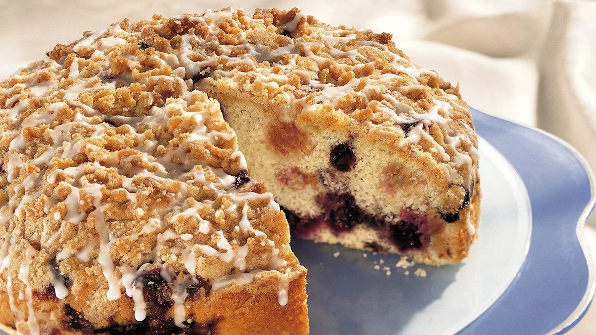 Blueberry Rhubarb Coffee Cake