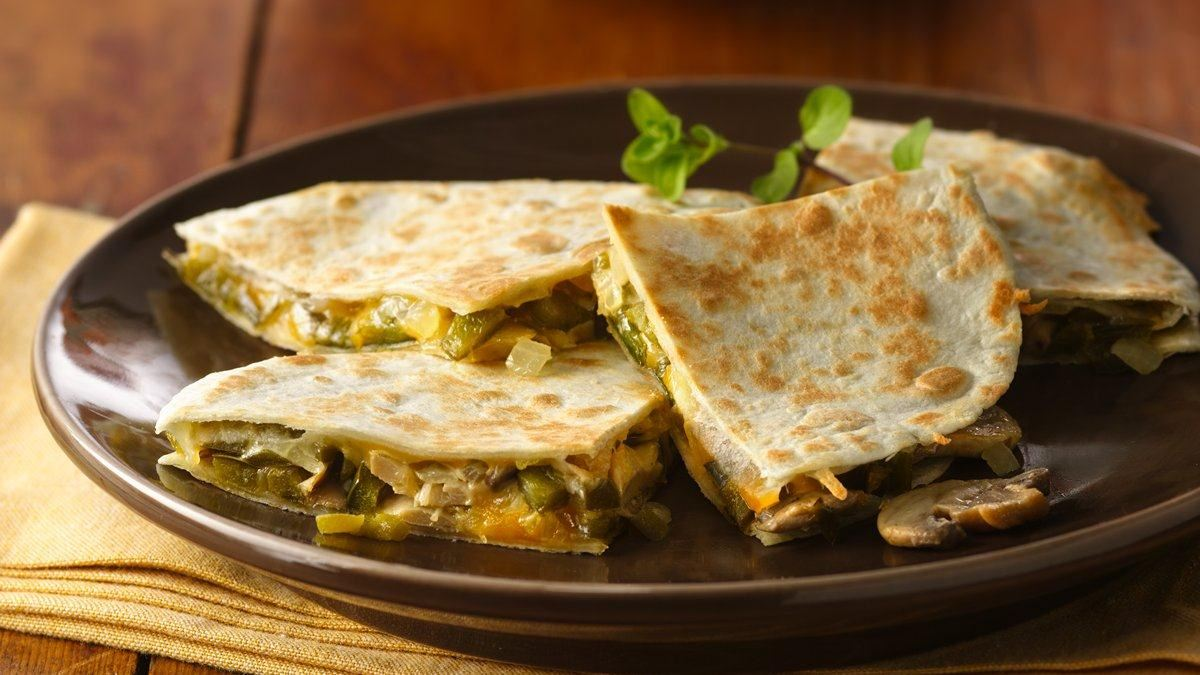 Monterey Jack, Poblano and Mushroom Quesadillas