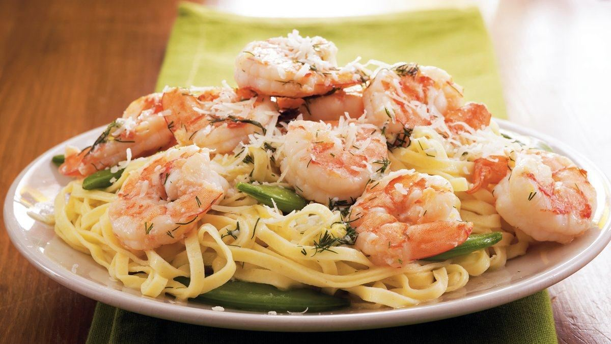 Dilled Shrimp 'n Sugar Peas with Linguine