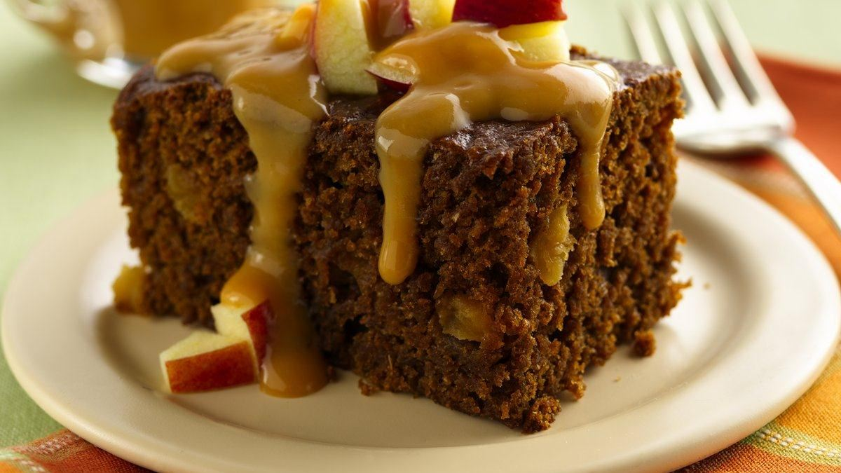 Ginger Cake with Caramel Apple Topping