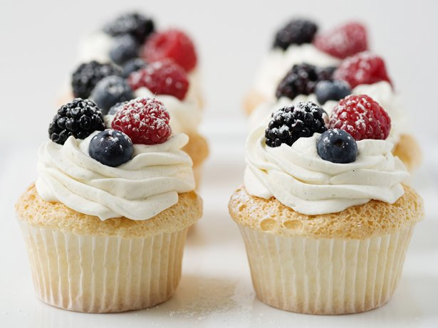 Angel Food Cupcakes With Whipped Cream And Berries Recipe