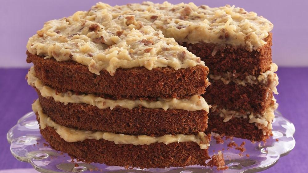 German Chocolate Cake With Chocolate And Pecan Frosting
