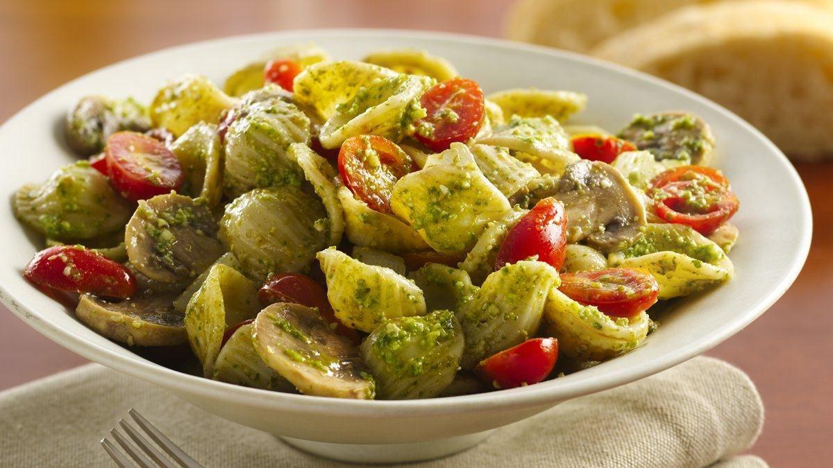 Veggies and Orecchiette with Arugula-Walnut Pesto
