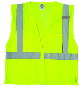 1085 Lime Ultra-Cool Mesh 3-Pocket Vest - Large