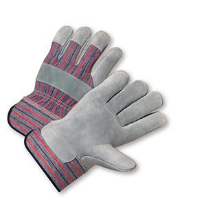Split Cowhide Palm Rubberized Cuff Gloves - Large