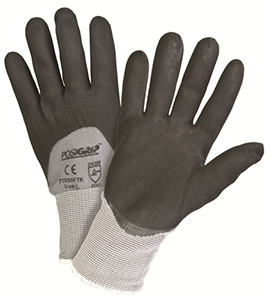 Black Foam Nitrile Glove 3/4 Dip on Gray Nylon Shell - Large