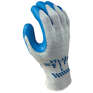 Atlas Fit 300 Bulk Gloves - Gray with Blue Rubber Palm - M